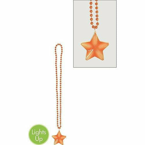 Light-Up Orange Star Pendant Bead Necklace