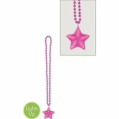 Light-Up Pink Star Pendant Bead Necklace