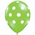 "White Polka Dots Lime Green 11"" Latex Balloon"