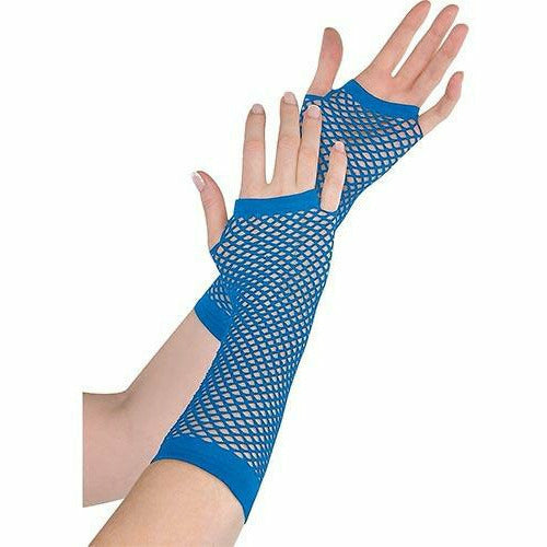 Long Blue Fishnet Gloves Deluxe