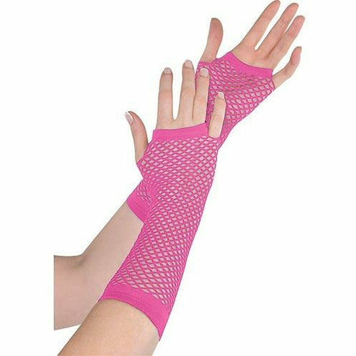 PINK FISHNET GLOVES ADULT