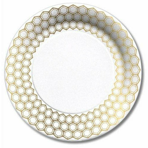 Lunch/Dessert Paper Plate (8Ct) - Prismatic Gold
