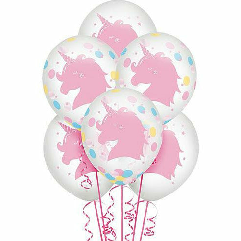 Magical Rainbow Unicorn Confetti Balloons 6ct
