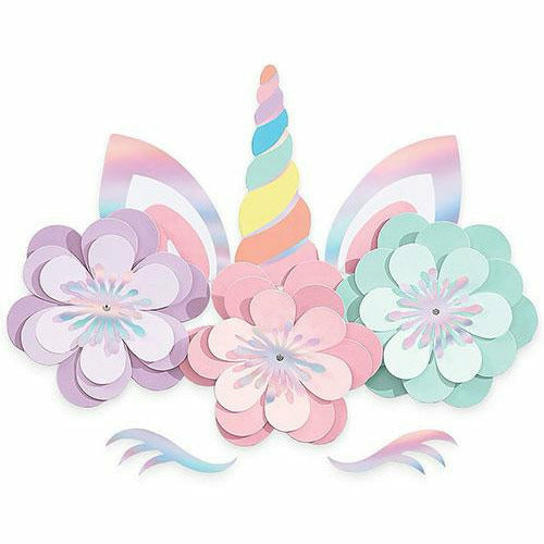 Magical Rainbow Unicorn Floral Cutouts 8ct