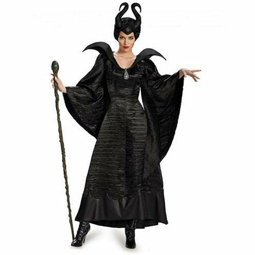 Womens Maleficent Christening Black Gown Deluxe Costume