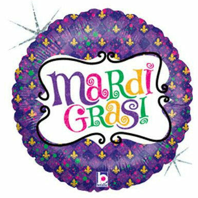 "Mardi Gras Celebrate Holographic 18"" Mylar Balloon"