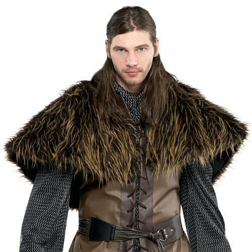Mens Furry Shoulder Cape Costume
