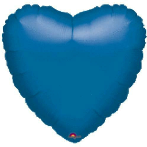 "043 Blue HX Metallic Heart 19"" Mylar Balloon"