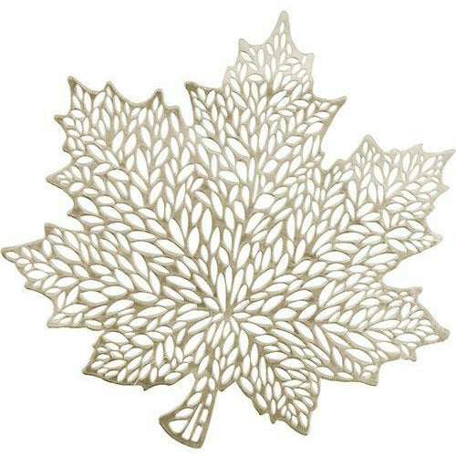Metallic Gold Harvest Leaf Vinyl Placemat