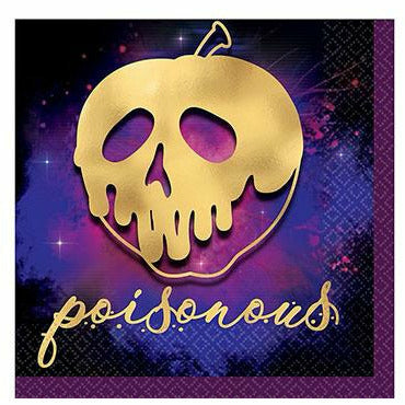 Metallic Gold Poisonous Apple Disney Villains Beverage Napkins