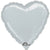 "048 Silver HX Metallic Heart 19"" Mylar Balloon"
