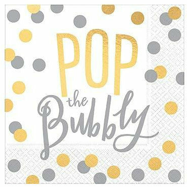 Metallic Gold & Silver Pop the Bubbly Beverage Napkins 16ct