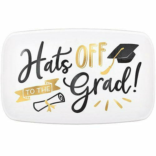 Metallic Gold Hats Off Graduation Rectangular Plastic Platter, 18in x 11in