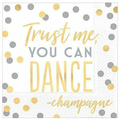 Metallic Gold & Silver You Can Dance Lunch Napkins 16ct