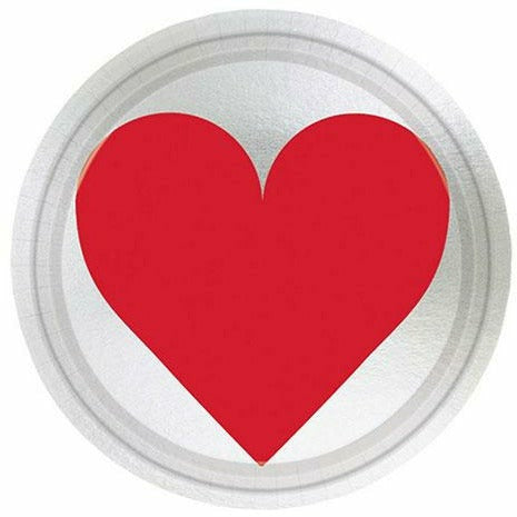 Metallic Key to Your Heart Valentine's Day Dessert Plates 8ct
