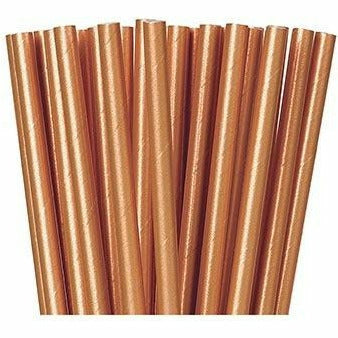 Metallic Rose Gold Paper Straws 24ct