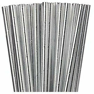Metallic Silver Paper Straws 24ct