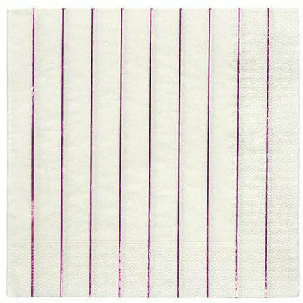 Metallic Pink Stripe Large Napkins