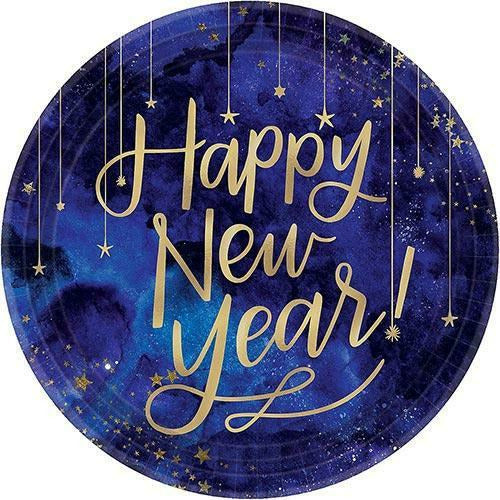 Midnight New Year's Eve Round Metallic Plates