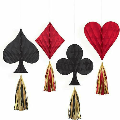 Mini Roll the Dice Casino Honeycomb Decorations with Tails 4ct