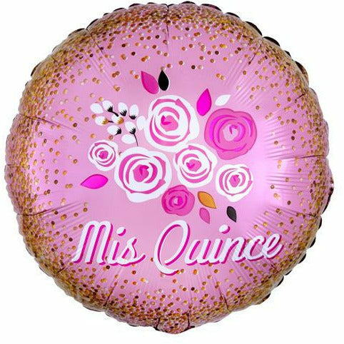 "391  Mis Quince Floral Crown 18"" Mylar Balloon"