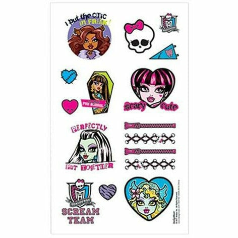 Monster High Tattoos 1 Sheet