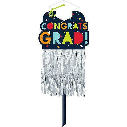 Navy Awesome Congrats Grad Embellished Graduation Yard Sign