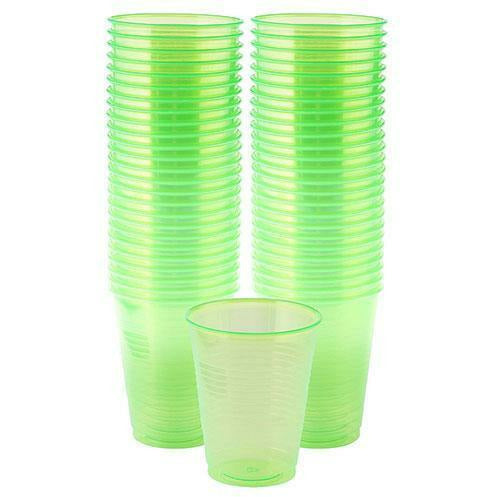 Big Party Pack Black Light Neon Green Plastic Cups 50ct