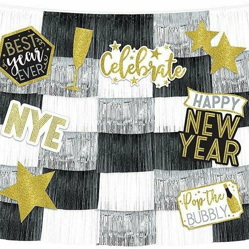 New Year's Eve Fringe Banners with Cutouts 14pc