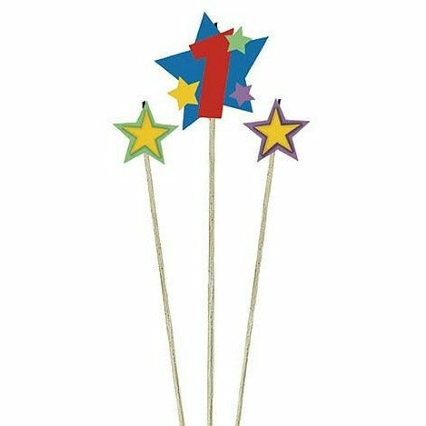 Number 1 Star Birthday Toothpick Candle Set 3pc
