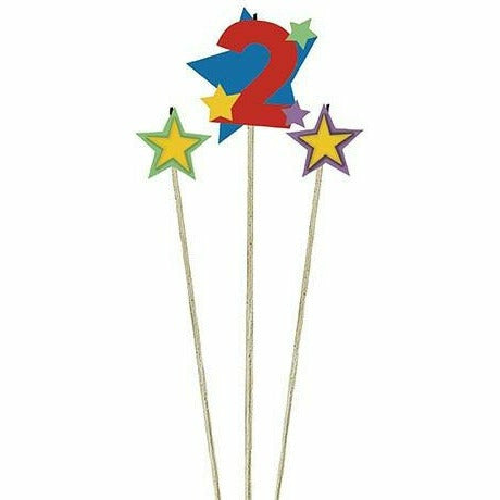 Number 2 Star Birthday Toothpick Candle Set 3pc