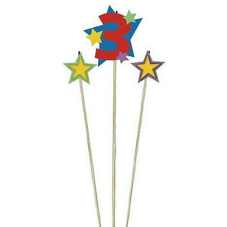 Number 3 Star Birthday Toothpick Candle Set 3pc