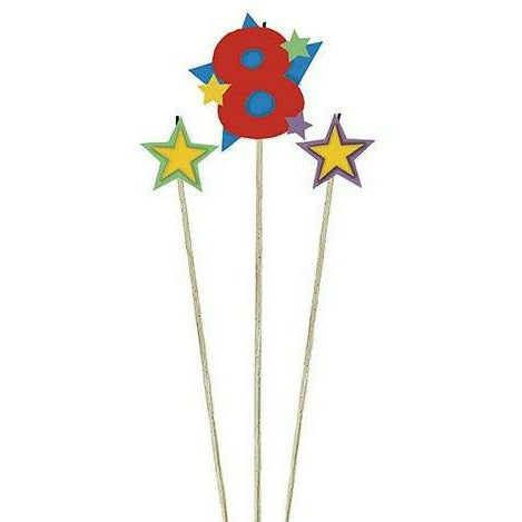 Number 8 Star Birthday Toothpick Candle Set 3pc