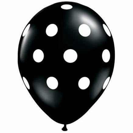 "White Polka Dots Onyx Black 11"" Latex Balloon"