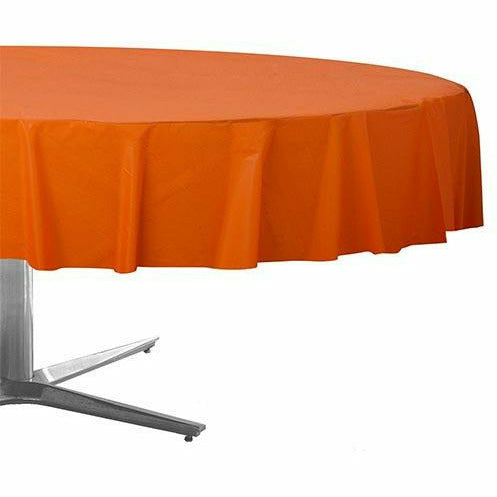 Orange Plastic Round Table Cover