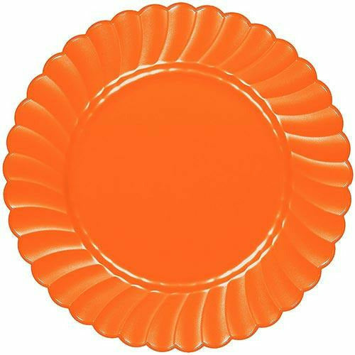 Orange Premium Plastic Scalloped Dinner Plates 12ct