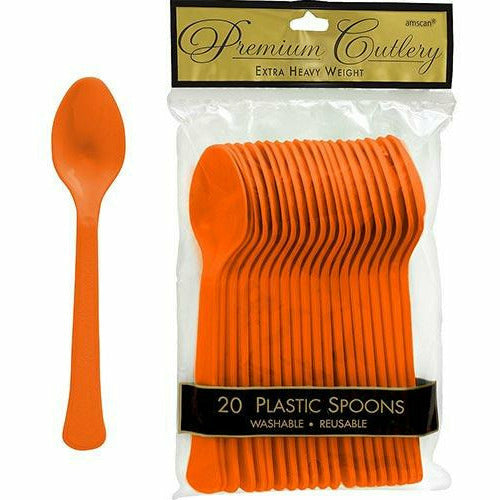Orange Premium Plastic Spoons 20ct