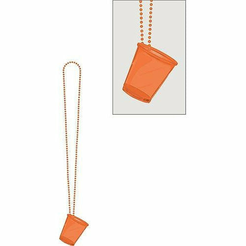 Orange Shot Glass Bead Necklace