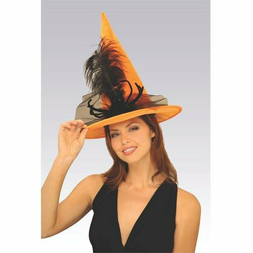 Orange Spider Witch Hat