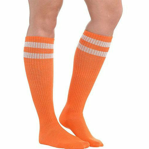 Orange Stripe Athletic Knee-High Socks
