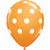 "White Polka Dots Orange 11"" Latex Balloon"