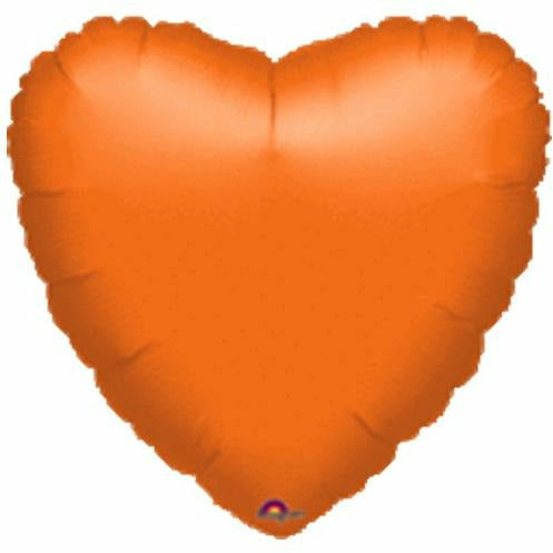 "036 Orange HX Metallic Heart 19"" Mylar Balloon"