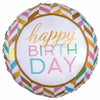"369 Confetti Chevron Happy Birthday Jumbo 28"" Mylar Balloon"
