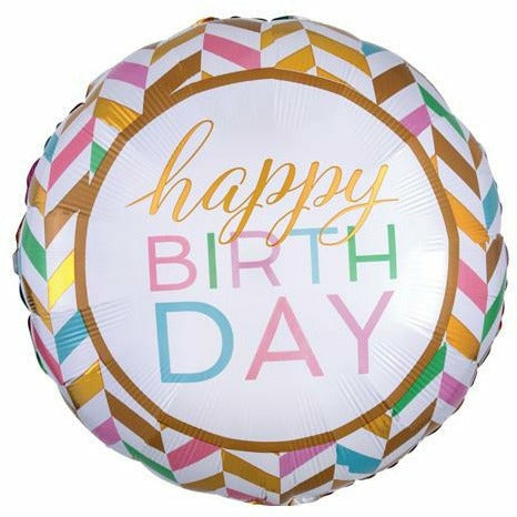 "328 Confetti Chevron Happy Birthday Jumbo 28"" Mylar Balloon"