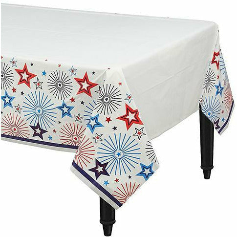Q2 Patriotic Red, White & Blue Stars Table Cover