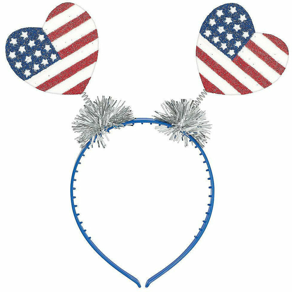 Glitter Patriotic Heart Head Bopper