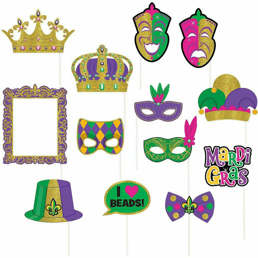 Mardi Gras Photo Booth Props 13ct