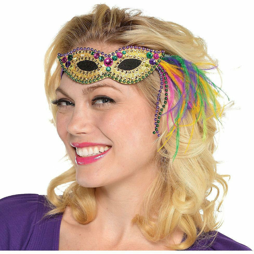 Feather Mardi Gras Mask Headband