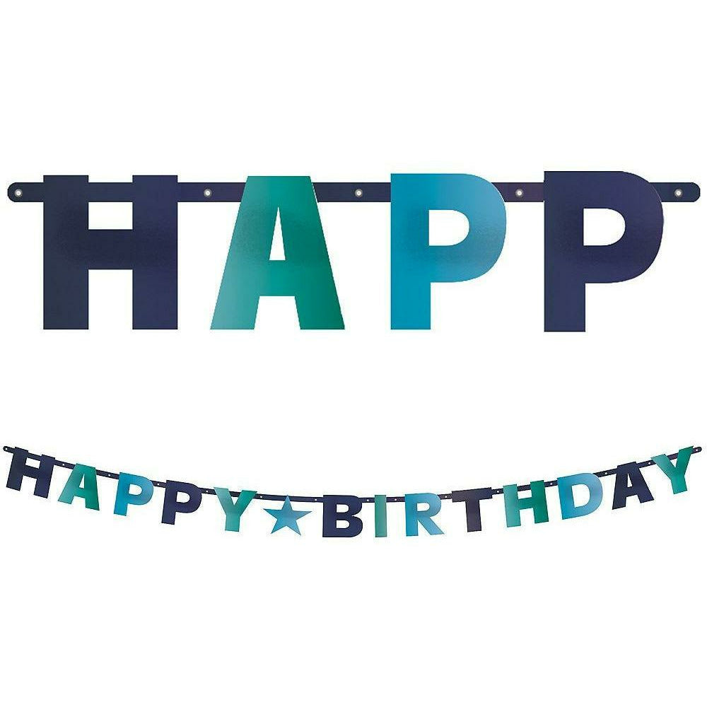 Metallic Shades of Blue Happy Birthday Letter Banner