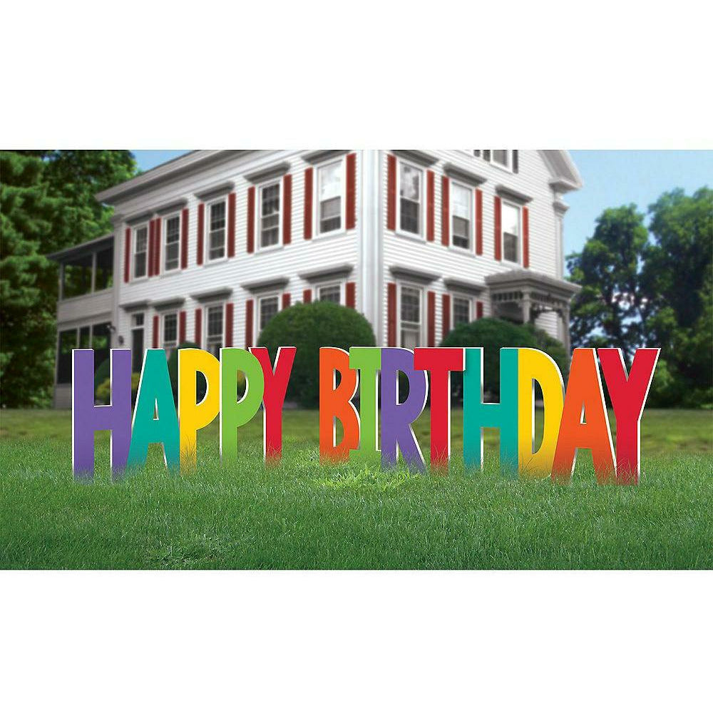 Rainbow Happy Birthday Yard Sign 4pc